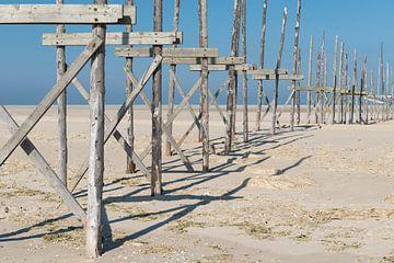 Aanlegsteiger op de zandplaat de Vliehors op het eiland Vlieland van