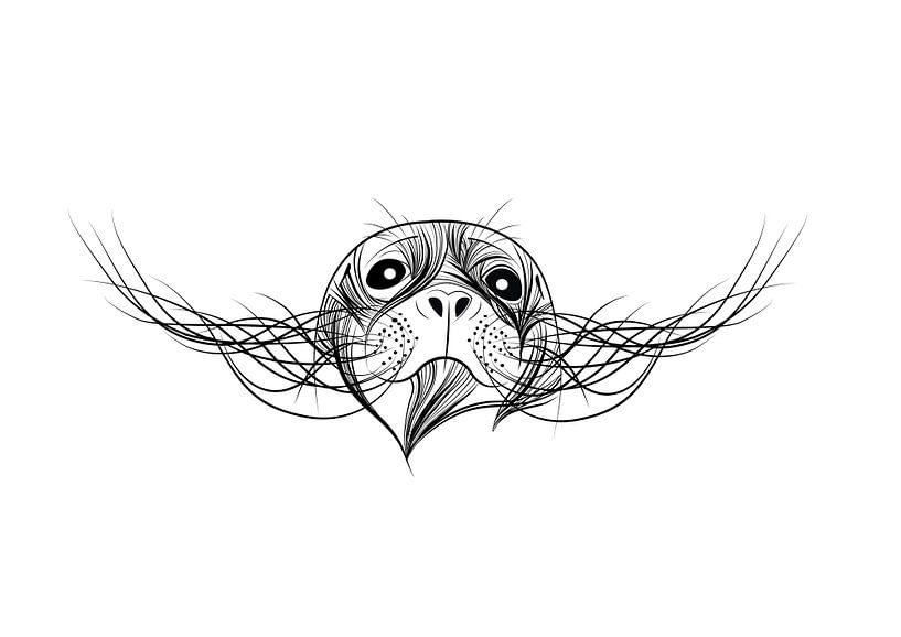 Poster zeehond - Terschelling - zwart wit van Studio Tosca