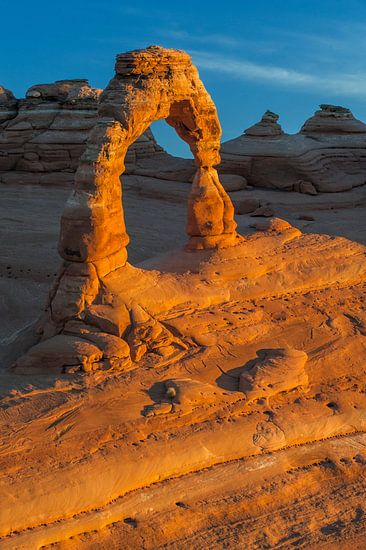 Magnifiek uitzicht op de zogeheten Delicate Arch in Arches National Park, Utah, Verenigde Staten van Nature in Stock