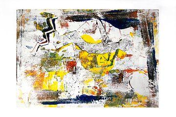 Monoprint Kunst in gelb und blau von Marianne van der Zee