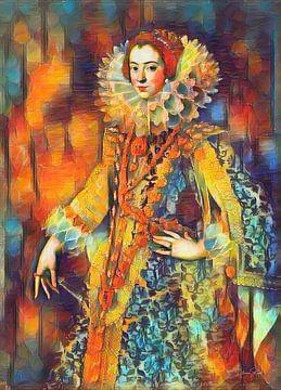 Farbenfrohes Gemälde Königin Elisabeth von Bourbon von Slimme Kunst.nl