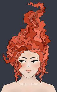 Das Mädchen mit den roten Haaren - moderne Malerei von Studio Hinte