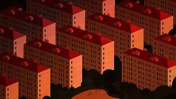 Woonblokken in Shanghai bij zonsondergang van Govart (Govert van der Heijden)