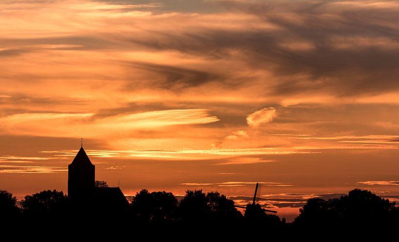 Zalk na zonsondergang van Erik Veldkamp