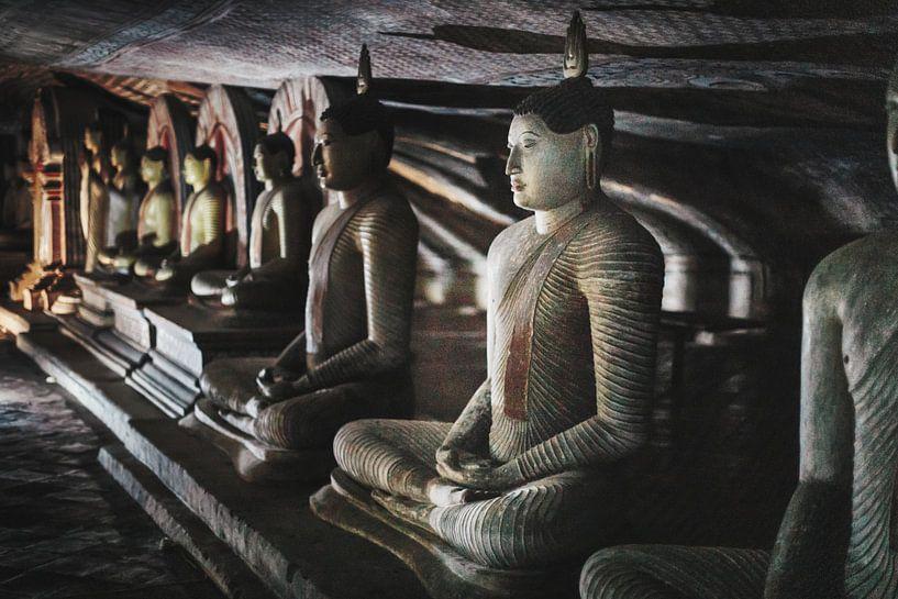 Grot Boeddha's in lotushouding van Eddie Meijer