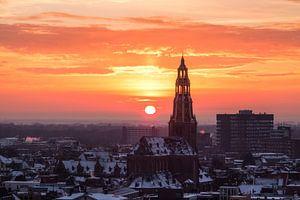 Der Aa-kerk bij Zonsondergang (winter)