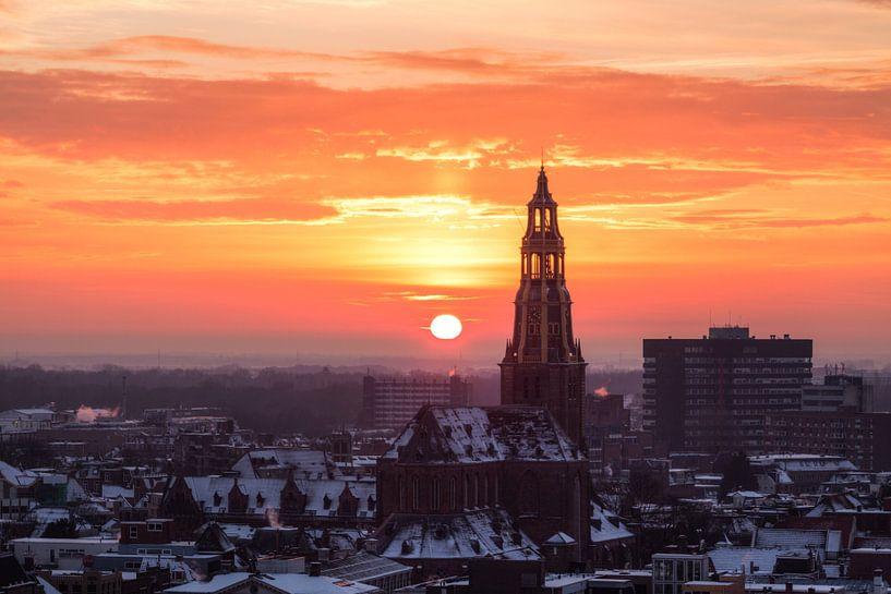 Der Aa-kerk bij Zonsondergang (winter) van Frenk Volt