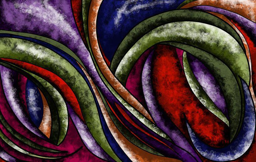Abstrakte Kunst - Bunte Wellen von Patricia Piotrak
