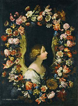 Een bloemenkrans omringt de engel Gabriël, Francesco Caldei