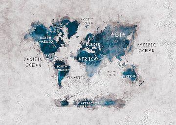 Weltkarte weiß blau #Karte #Weltkarte von JBJart Justyna Jaszke