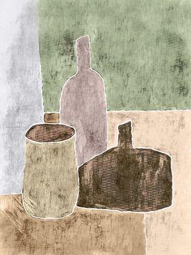 Stilleven met aardewerk en fles