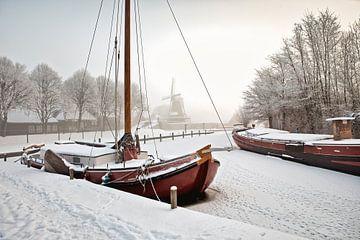 Winterlandschaft in Sloten von Frans Lemmens