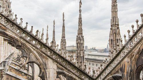 Uitzicht vanaf het dak van de dom in Milaan