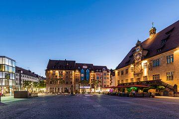 Marktplatz mit dem Rathaus in Heilbronn von Werner Dieterich
