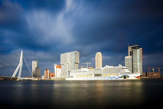 Rotterdam: Zicht op de Erasmusbrug en de Cruise Terminal van Pieter van Dieren