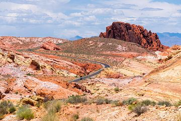 Roadtrip tussen de rode rotsen van de Valley of Fire, Amerika van Linda Schouw