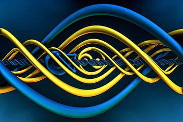Fantasie met spiralen in blauw en geel