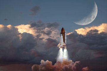 Space Shuttle lancering. van Gert Hilbink