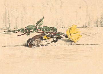 Dode putter liggend naast een roos van Willem Roelofs (II), 1884 - 1931