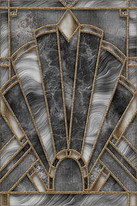 Art Deco Bleiverglasung Grau Gold von Andrea Haase