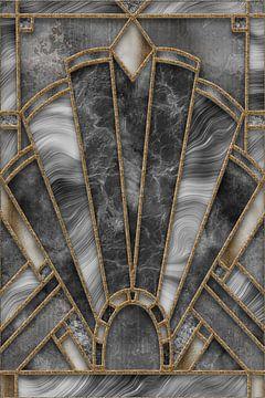 Art Deco Loodglazuur Grijs Goud van Andrea Haase