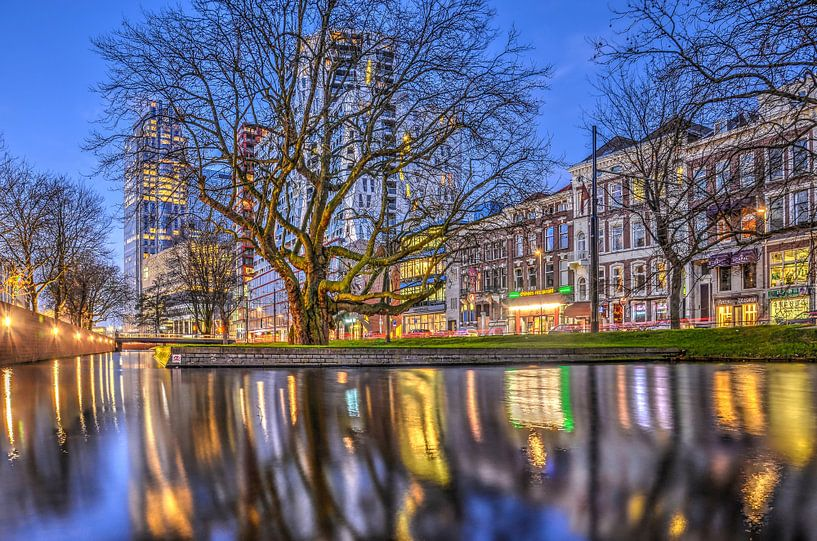 Avond op de Westersingel, Rotterdam van Frans Blok