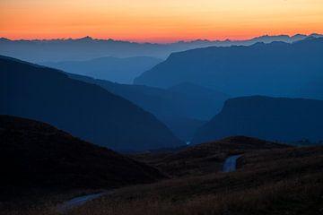 Dolomieten, Alpen, Zonsondergang van Frank Peters