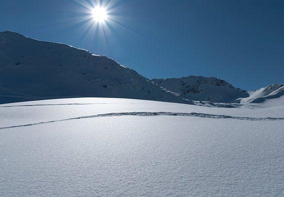 Wintersport sneeuwlandschap van Marcel van Balken