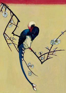 Vogel op een tak in bloei. Japanse kunst van David Morales Izquierdo