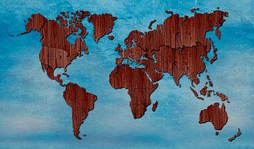 Weltkarte aus Holz von Rene Ladenius Digital Art