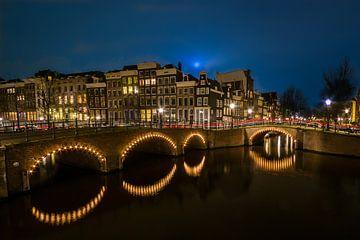 Amsterdam Keizersgracht in der Nacht von Chris Snoek