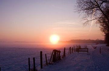 Sonnenuntergang mit rosa Schein über schneebedeckten Wiese von Sandra de Heij