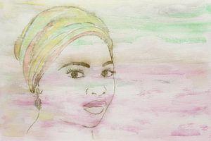 Dame mit farbenfrohem Kopftuch