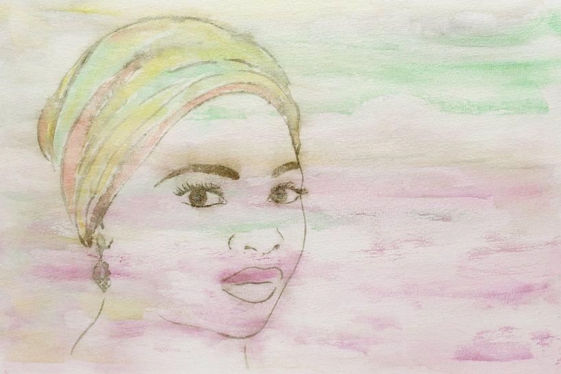 Dame mit farbenfrohem Kopftuch von Natalie Bruns