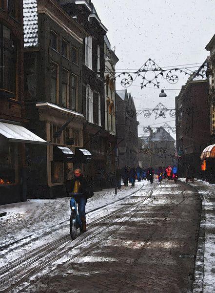 Winterse fietser in Groningen Stad