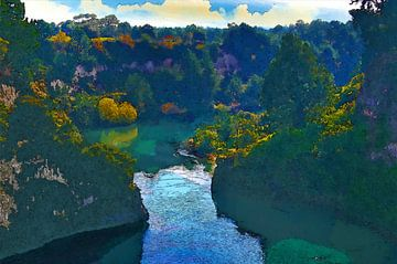 Landschaft - Neuseeland - Tal - See - Ölgemälde mit Radierung von Dirk van der Ven