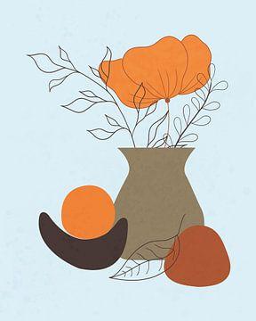 Minimalistisch stilleven met een oranje bloem van Tanja Udelhofen