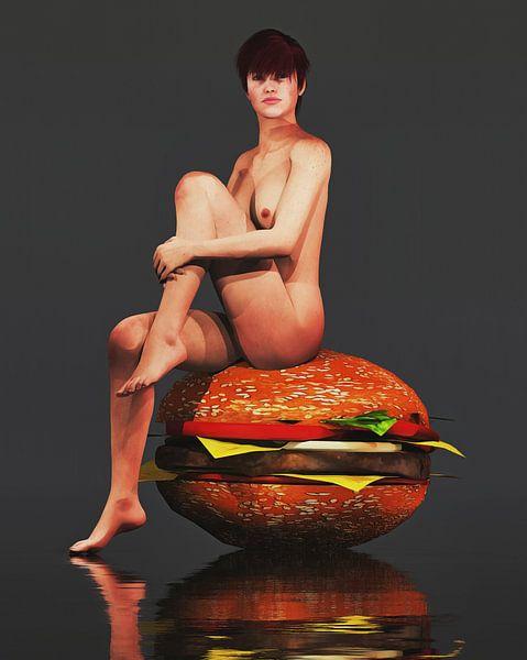 Erotisch naakt - Naakt zittend op een gigantische hamburger. van Jan Keteleer