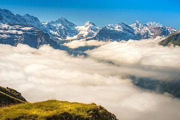 Blik vanaf Männlichen op de bergen van het Berner Oberland (Zwitserland) van Chris Rinckes