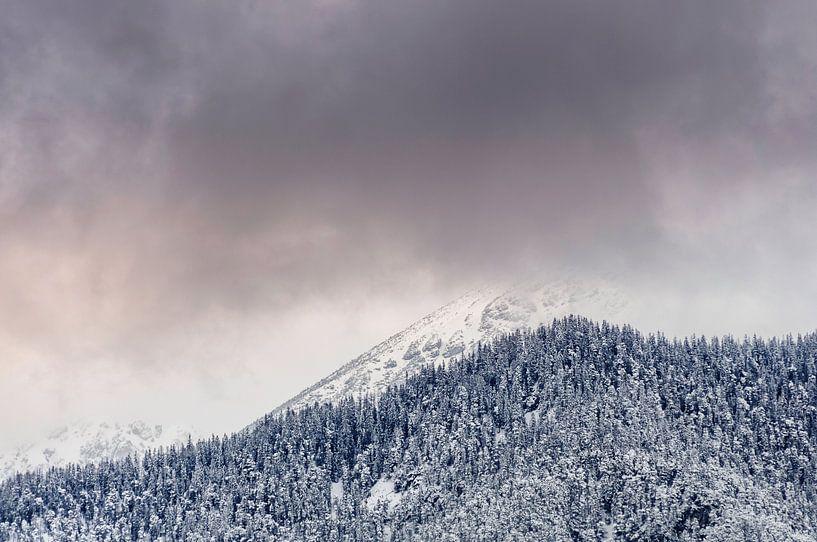 Bergtoppen in de Wolken in Oostenrijk van Martijn van der Nat