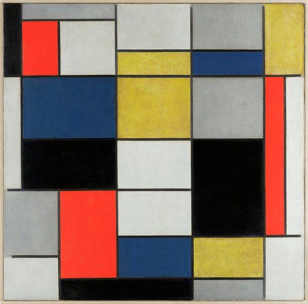 Samenstelling A, in zwart, rood, geel en blauw, Piet Mondriaan van Meesterlijcke Meesters