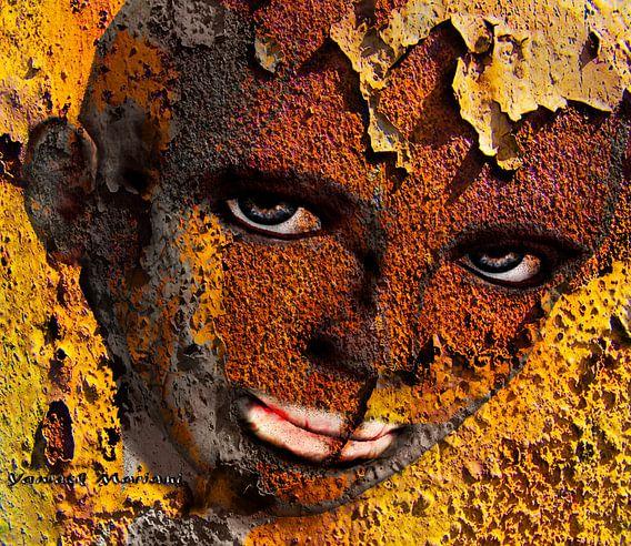 Virtual Face In Grafitti van Yvon van der Wijk
