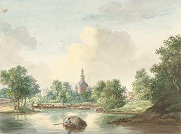 Die Hogerwoerdse Poort in Leiden aus dem Singel, Pieter Gerardus van Os.