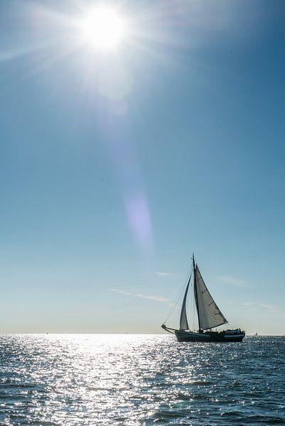 Zeilboot aan de horizon van Barbara Koppe