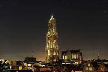 Stadtbild von Utrecht mit Dom Tower und Dom Church von Donker Utrecht