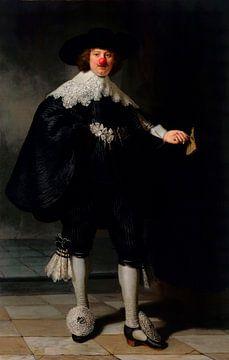 Rembrandt's Portret van Maerten Soolmans met clowns neus