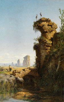 Carlos de Haes-Landschaft mit Ruinen, Altstadt-Ruinenlandschaft, Antike Landschaft