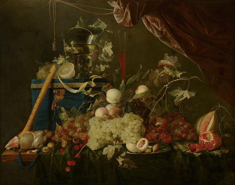 ein Stillleben mit Früchten und einer Schmuckschatulle, Jan Davidsz de Heem von Meesterlijcke Meesters