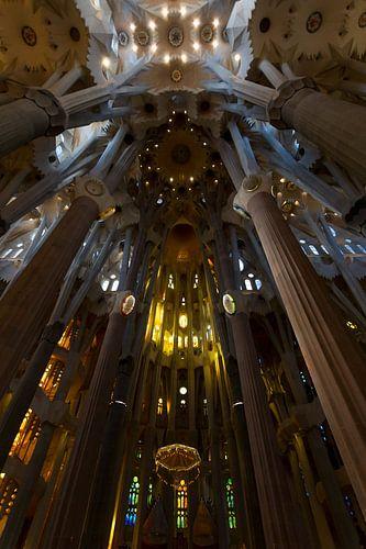 De prachtige binnenkant van de Sagrada Familia sur