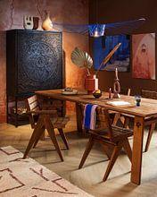 Kundenfoto: Rosafarbenen Wänden und Laterne in Marrakech von Leonie Zaytoune, auf alu-dibond